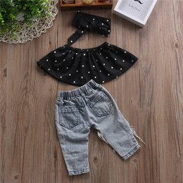 short sleeveless jeans top NZ - Toddler Baby Girl Clothes Dot Sleeveless Tops Vest Hole Jeans Den Pants Outfits Casual Fashion Baby Girls Summer Clothing Set