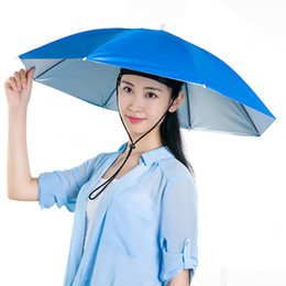 Men Head Gear Australia - Lightweight Umbrella Rain Hat Cap Headwear Stylish Umbrella for Fishing Hiking Beach Camping Cap Head Hats Outdoor Rain Gear