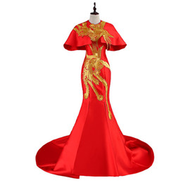 Dress Tails UK - Luxury Red Tailing Evening Dress Elegant Gold Phoenix Embroidery Vintage Cheongsam Dresses Traditional Chinese Wedding Gown
