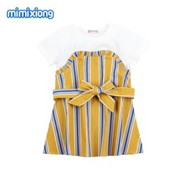 Tiny Clothes Australia - New Summer Girls Dress Tiny Cottons Toddler Kids Elegant Vestido Casual Short Sleeve Children Stripe Dresses Clothing 1-5Y Wear