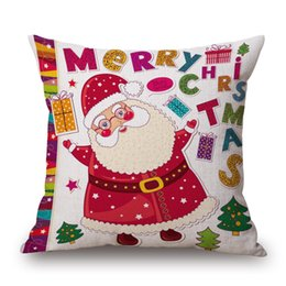 pattern decor Canada - Happy New Year Decor Christmas Decorations for Home Christmas Santa Claus Gift Pattern Square Linen Pillowcase 45x45CM C1013