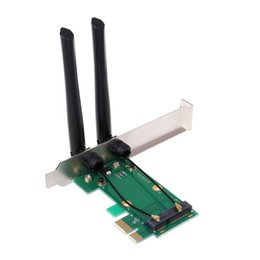 wireless pci e adapter Canada - Computer & Office NoEnName_Null High Quality Wireless Network Card WiFi Mini PCI-E Express to PCI-E Adapter 2 Antenna External PC