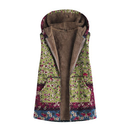 womens vests NZ - Womens Cardigans Ladies Vest Autumn Hooded Coats Fashion Jackets Floral Print Outwear Warm