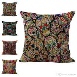 Hospital Bedding Australia - Hallowmas Sugar Skull Pillow Case Cushion Cover Linen Cotton Throw Pillowcases sofa Bed Car Decorative Pillow covers Drop ship 240436