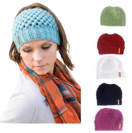 $enCountryForm.capitalKeyWord Australia - Winter Knits Cap Baggy Warm Crochet Girl Pony Tail Hat Autumn Solid Color Ear Protection Wool Caps Knit Beanie Skull Slouchy Empty Top Hats
