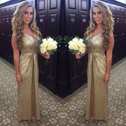 wedding dress bling color cheap 2019 - Cheap Bridesmaid Dresses A Line V Neck Sleeveless Champagne Sequined Bling Bling Garden Wedding Guest Evening Party Gown