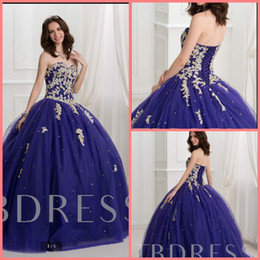 $enCountryForm.capitalKeyWord Australia - 2019 Vestido De Festa ball gown blue lace appliques beaded prom dress strapless sweetheart neck princess puffy sweet 16 party prom gowns