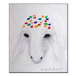 $enCountryForm.capitalKeyWord UK - 100% Hand Painted Menashe Kadishman Reproduction Oil Painting on Canvas white Sheep Head wall Art Imitation picture famous copy wall decor