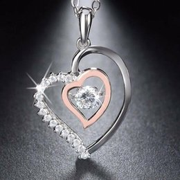 $enCountryForm.capitalKeyWord Australia - Jewels Genuine 925 Silver Double Heart Pendant With 0 .3 Ct Crystal Rhodium Mixed Rose Gold Color Necklaces without Chains