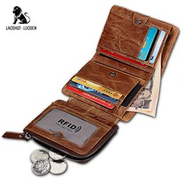 Rfid Print Australia - LAOSHIZI LUOSEN Brand New Cow Genuine Leather Men Short Wallets Rfid Wallet Small Trifold Purse Male Crazy Horse portefeuille #302675