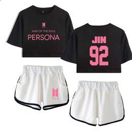T Shirt Woman Korea Australia - Blackpink persona Set Crop Top Women Korea 2019 Hot Sale Summer Shorts And T-shirt Women Fashion Clothes