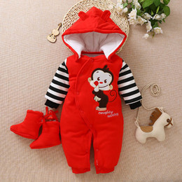 Toddlers Hooded Jumpsuits Australia - good quality Newborn Clothing Baby Boys Girls Winter Rompers Jumpsuit Clothes Toddler Infant Hooded Cartoon Thick Warm Snowsuit
