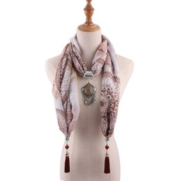 scarf necklaces for women Canada - Fashion Bohemian Printed Water Pendant Sacrf Necklaces for Women New Statement Tassel Necklace Collar Jewelry scarves