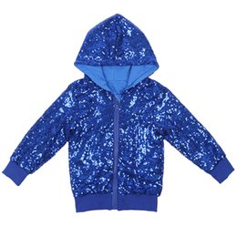 Toptan satış Pullu Kızlar Hoodie Ceket Mavi Çocuk Çocuk Bebek Glitter Coat Gökkuşağı Dış Giyim Bebekler Sparkle Ceket Noel Yılbaşı