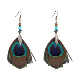 earrings peacock feathers UK - Ethnic Simple Retro Leaves Green Leaf Earrings Long Tassel Peacock Feather Earrings For Women Gifts Female Party Jewelry 136887