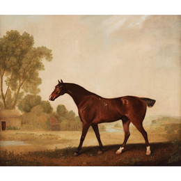 hand painted landscape oil painting Canada - Eagle, a bay racehorse oil painting George Stubbs hand painted Landscapes artwork paintings for wall decor