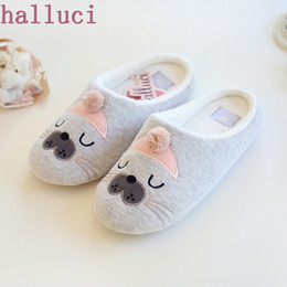$enCountryForm.capitalKeyWord Australia - Cute Animal Pattern Cotton Home Slippers Women Indoor Shoes For Bedroom House Warm Winter Soft Bottom