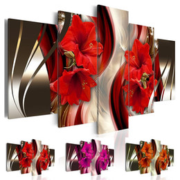 Unframed canvas red flowers online shopping - Fashion Wall Art Canvas Painting Pieces Red Orange Purple Abstract Lilies Flower Modern Home Decoration No Frame