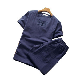 Linen kung fu shirt online shopping - Summer New Cotton Linen Tracksuits Short Sleeve Shirt Pant Men Plus Size Solid V neck Clothing Loose Single Breasted Kung Fu Set M XL