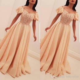 Wholesale Arabic Bubble Sleeves Long Evening Dresses A Line Bubble Sleeves Lace Appliques Prom Dresses Formal Gowns robes de soirée caftan kaftan