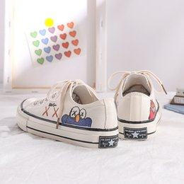 korean street shoes UK - Hand-Painted Sesame Street Canvas Shoes Student Korean-style New Style Versatile Hong Kong Style MacBook Trendy Shoes 2019 Summe