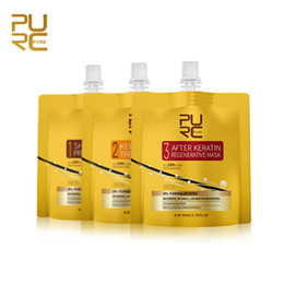 damaged hair NZ - PURC 3pcs set New Technology Keratin Treatment Set No Irritation No Smoke Repair and Straighten Damaged Hair