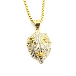 $enCountryForm.capitalKeyWord Australia - European and American new men's diamond studded lion head pendant hip hop necklace