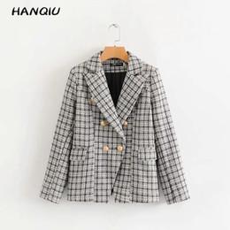 $enCountryForm.capitalKeyWord Australia - Fall 2019 vintage chic Houndstooth women blazers and jackets coat office work tweed blazer women casual jacket outerwear Korean