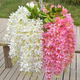 Fake Hanging Vines Hang Australia - Five Branches Each Bouquet Artificial Hanging Orchids Plants Fake Silk Flower Vine 7color For Wedding Backdrop Party Decorations supplies