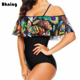 Xxl Swimsuit Women Australia - Ruffle Swimsuit 1 Piece One Women Large 2019 Xxl Monokini Plus Size 2018 Trikini Tribal Print African Plunge Swimwear Straps Pad Y19052002