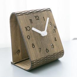 mechanical desktop 2019 - Creative Wooden Table Clock Modern Design Bedroom Decoration Desk Clocks for Student Office Desktop Watch Home Decor che