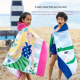 Cotton Ponchoes Australia - Beach Towel Kids Children Hooded Poncho Dinosaur Swim Beach Bath Towel for Girls Boys 100% Cotton Printed Cartoon Fish Mermaid