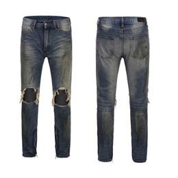 $enCountryForm.capitalKeyWord UK - 2019 New Fashion Men's Jeans Knee Hole Design Slim Zipper Hip Hop Jeans Streewear Male High Street Style Trousers Clothing