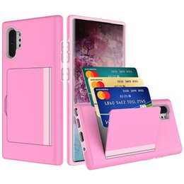 hard case wallet for iphone NZ - For iphone 11 11 pro max Samsung Note 10 plus Case Shockproof Side Credit Card Slot Insert Hard PC Back Case Cover Protactor