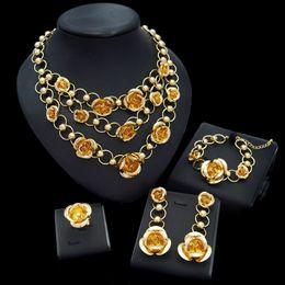 $enCountryForm.capitalKeyWord Australia - Yulaili Fashion Women Dubai Gold Jewelry Sets Pendant Rose Flower Necklace Earrings Bracelet Ring Turkey Wedding Accessories Gifts