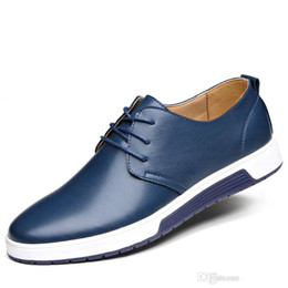 Discount trendy shoes for men - 2019 Men Shoes Casual Leather Fashion Trendy Black Blue Brown Flat Shoes for Men Drop Business dress casual