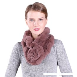 short hair rabbit UK - flounce scarves quality rabbit hair scarf real fur neckerchief lady warm muffler woven short fashion rose