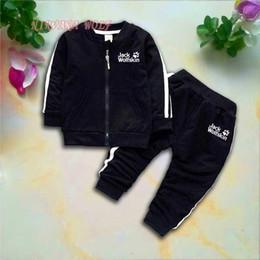 Kids Coat Pant Suit Australia - WOLF PAWS Brand Kids Sets 1-4T Kids Cardigan Zipper Coats Pants 2Pcs sets Children Sports Sets Long Sleeved Fashion Kids Summer Suit.