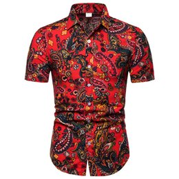 $enCountryForm.capitalKeyWord NZ - 2019 New Summer Mens Short Sleeve Vintage Shirts Chinese Style Floral Shirts Regular Plus Size 3XL Mens clothing Party Wear