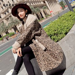 98b3289e6c2 Cheerart Leopard Print Winter Wool Coat Women Long Fur Collar Woolen Coat  Grey Plus Size Ladies Korean Wool 2018