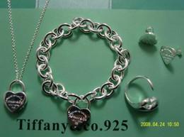 Ingrosso Nuovo 2019 Brand designer Tiffan925 Argento moda gioielli collana e bracciale confezione regalo originale scatole Perline tonde Set con scatola