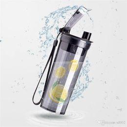 $enCountryForm.capitalKeyWord Australia - Transparent Plastic Cup Te Baihui Same Paragraph Water Bottle Portable Leak Prevention Tumbler Turn Over Lid Mention Strap 9 8cyb1