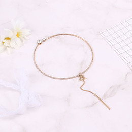 lovely chains Australia - 1Pc Charm Star Chain Choker Necklace Simple Long Tassel Pendant Lovely Cuff Women Fashion Jewelry Accessories Girlfriend Gift