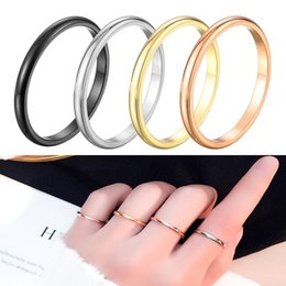 East Indian Stainless Steel Ring Australia - 2 mm Wide New Fashion Simple Curved Stainless Steel Ring 316 Ultra-Thin Titanium Steel Ring Tungsten Steel Black Couple Ring