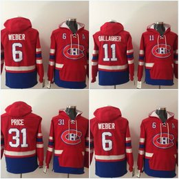 montreal sweatshirt Australia - Mens Montreal Canadiens Jerseys 6 Shea Weber 31 Carey Price 11 Brendan Gallagher Hoodies Jerseys Sweatshirts High Quality Free Shipping