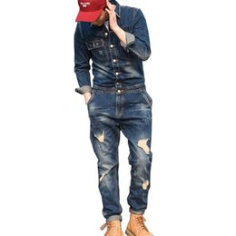$enCountryForm.capitalKeyWord UK - MORUANCLE Fashion Men's Ripped Denim Bib Overalls With Jackets Distressed Jeans Jumpsuits For Male Work Suit Stage Costumes