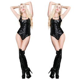 sexy leather zipper crotch Canada - Sexy Black PVC Women Catsuit Leather Sleeveless Zipper Bodysuit Fetish Open Crotch Teddy Lingerie Erotic Clubwear Costumes