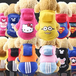 superman dog jacket NZ - Dog Clothes Winter Cat Sportswear With Hat Superman America Capitain Bear Cartoon Style Pets Supplies Wholesale and Dropshipping
