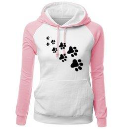 $enCountryForm.capitalKeyWord Canada - Women Splicing Contrast Color Hoodie Winter Long Sleeve Sweatshirts Casual Sportswear with Cute Animal Footprints 6 Color Asian Size S-2XL