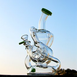 $enCountryForm.capitalKeyWord Australia - New Unique Double Recycler Glass Bong Slitted Donut Perc Dab Rig Glass Bongs Tonus Water Pipe Smoking Oil Dab Rigs 14mm Joint Bowl